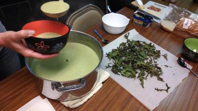 broccoli soup and kale chips