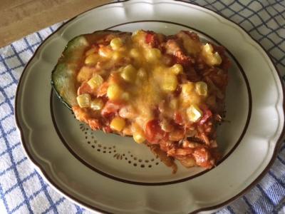Chicken Enchilada Zucchini Boat