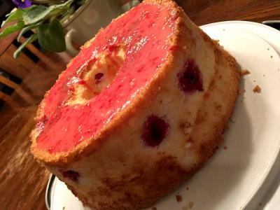 Raspberry Lemon Angel Food Cake