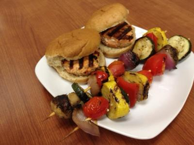 Salmon Patties and Veggie Kabobs  3