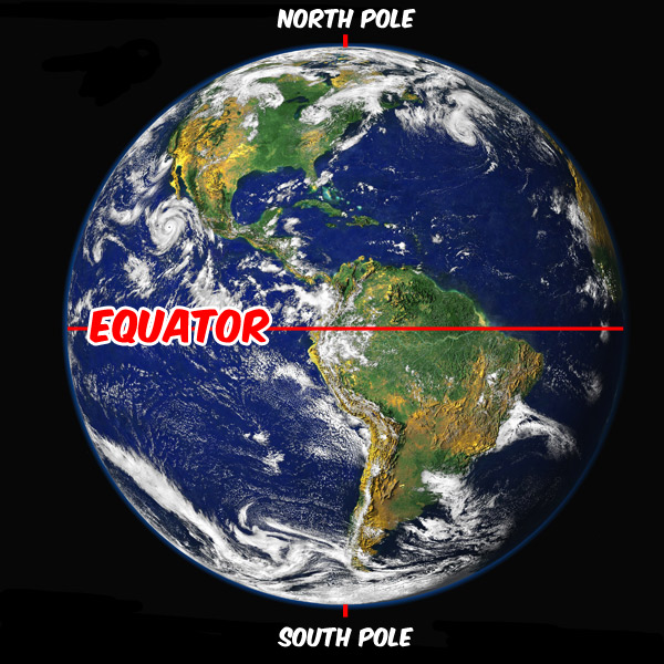 view of Earth from Space with the Equator labeled. Original Image ...